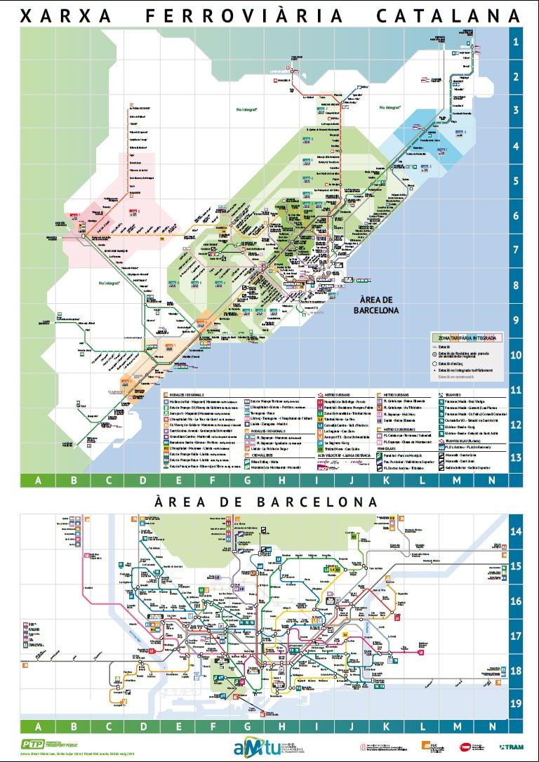 Mapa De La Red Ferroviaria De Cataluna Transportpublic Org